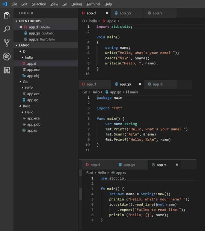 tsJensen | Hello World in D, Go and Rust in VS Code