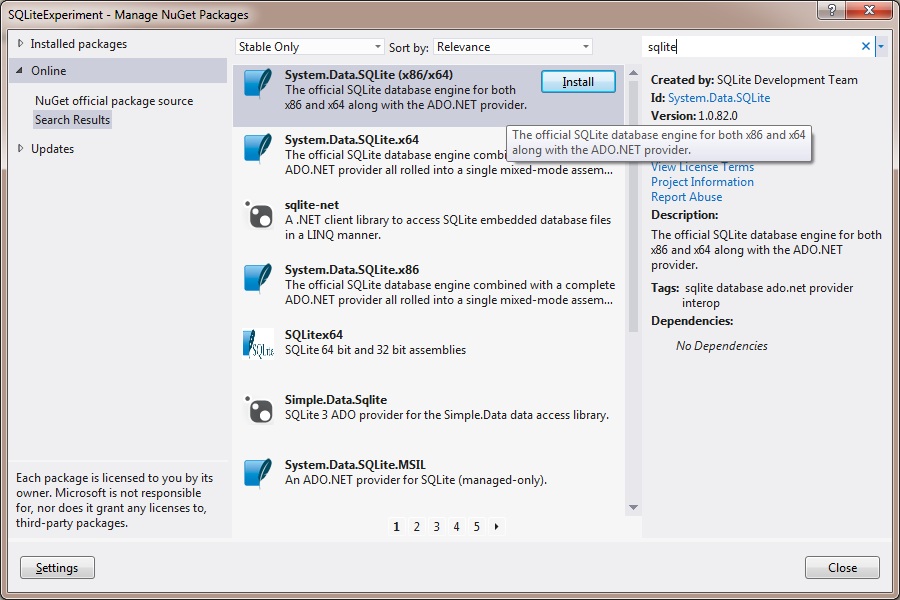 tsJensen   SQLite on Visual Studio with NuGet and Easy
